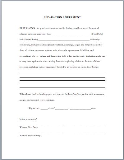 Template For Separation Agreement by Separation Agreement Template Business Templates