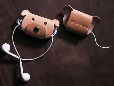 Animal Earphone Winder leather animal headphone earphone wrap winder cord
