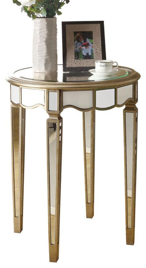round mirrored accent table monarch specialties 24 inch round mirrored accent table in