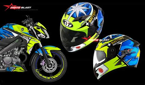 Helm Kyt Battery modifikasi striping yamaha new vixion advance livery helmet aleix espargaro motogp 2017 motoblast