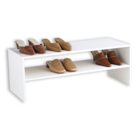 floor shoe storage 2 shelf shoe stacker the container store