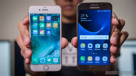Android Vs Samsung by Samsung Galaxy S7 Vs Apple Iphone 7 Android Authority