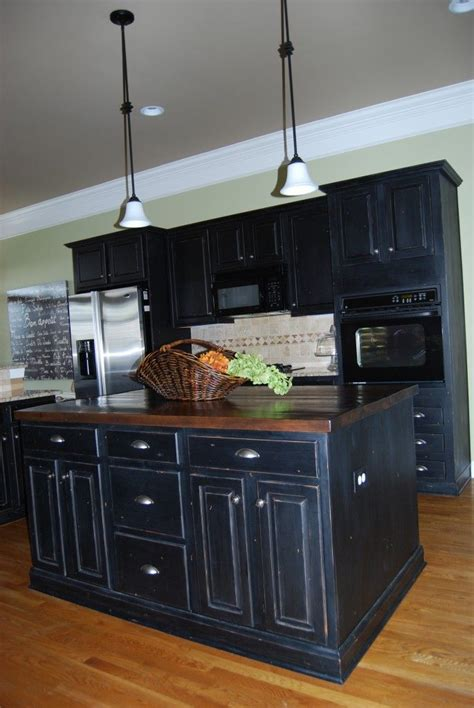 Kitchens With Black Cabinets Black Distressed Kitchen Cabinets Kitchen Cabinets Pinterest