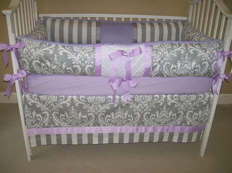 Lavender And Grey Baby Bedding 4 Piece Set By Babydesignsbyelm Baby Crib Bedding Sets Purple