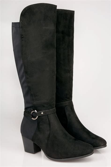 Buckle Gift Card Value - black knee high stretch heeled boots with buckle strap in true eee fit size 4eee to 10eee