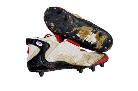 used football shoes lot detail steve signed used cleats