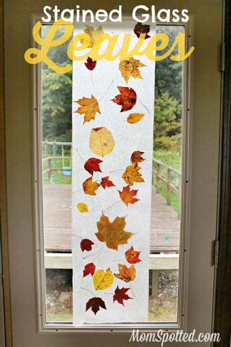 Wax Paper Craft Ideas - stained glass from wax paper leaves easy autumn craft