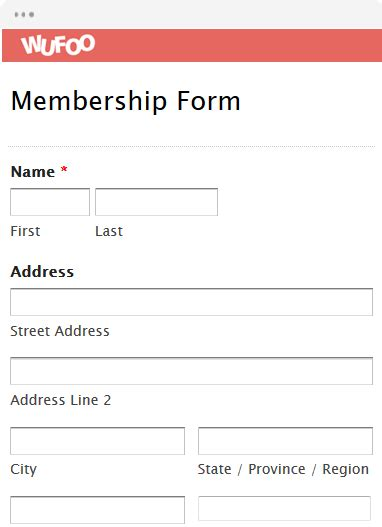 template membership form form template wufoo