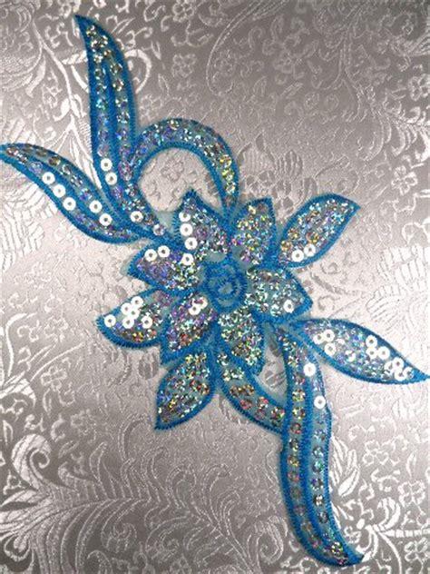 floral applique turquoise flower sequin embroidered floral applique