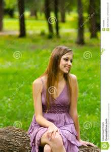 beautiful sitting in the park royalty free stock