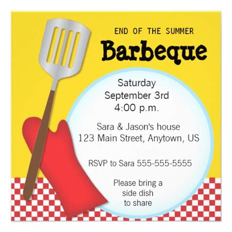 Come With Me End Of Summer Bbq Invites by End Of The Summer Barbeque Invitation 5 25 Quot Square
