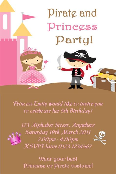 free princess and pirate invitation template princess and pirate invitation template