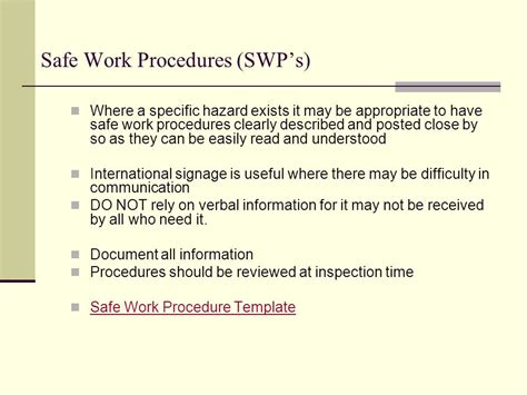 Occupational Health And Safety Induction Ppt Download Safe Procedure Template