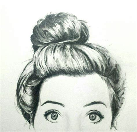 Bun Hairstyles Drawing | how to draw a girl with a messy bun www imgkid com the