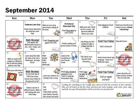 kindergarten activities september september activity calendar laughplayread