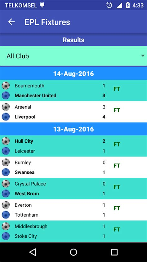 epl standings 2016 17 epl fixtures 2016 17 android apps on google play