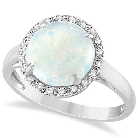 accented halo opal engagement ring 14k white gold