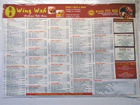 Wah Menu For V2 0 the menu picture of wing wah greenock tripadvisor