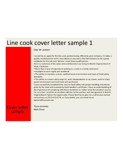 Cover Letter For Cook by Basic Line Cook Cover Letter Sles And Templates