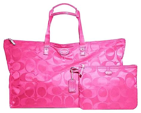Coach Signature Pink Large coach tote large packable pink weekend travel bag tradesy