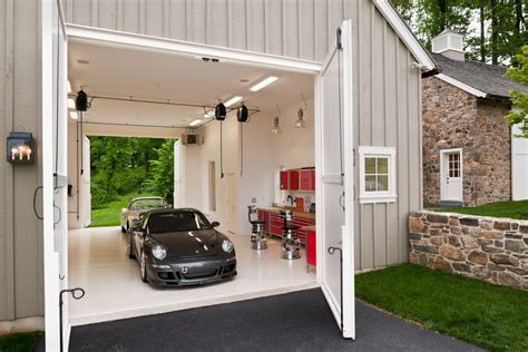 Outdoor Patio Awning Boat Garage Garage Farmhouse With Large Carriage Doors