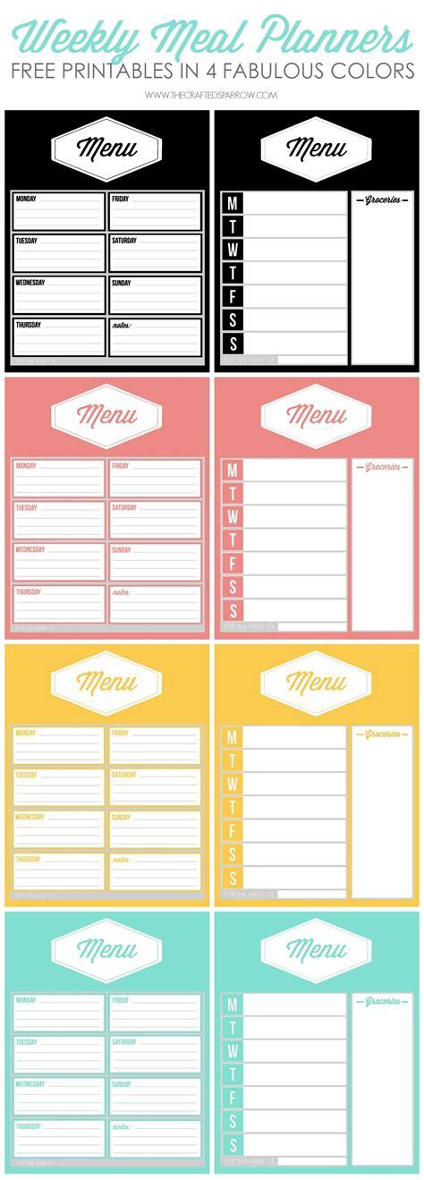Free Printable Weekly Meal Planners Planner Template Weekly