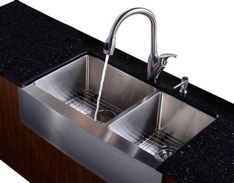 Kitchen Sinks Houzz 36 In Farmhouse Bowl Sink With Faucet And Soap Dispenser Contemporary Kitchen Sinks