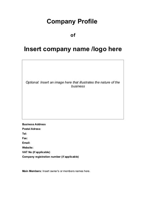 template for a company profile company profile template