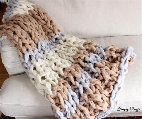 what size yarn for arm knitting diy arm knit striped rib stitch blanket simplymaggie