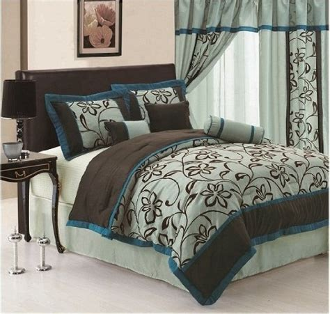 Teal King Comforter by 7pc Faux Silk Bamboo Nod Aqua Blue Teal Brown Flocking
