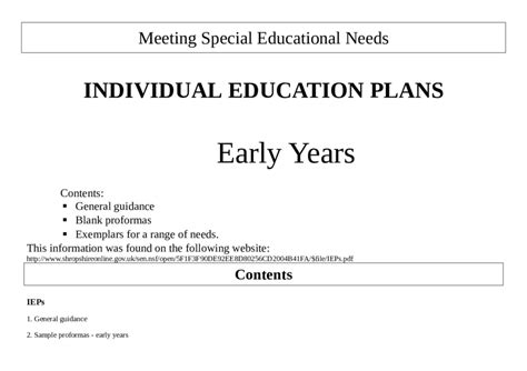 2018 Individual Education Plan Fillable Printable Pdf Forms Handypdf Individual Education Plan Template
