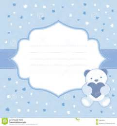 blue greeting card with teddy bear for baby boy b stock