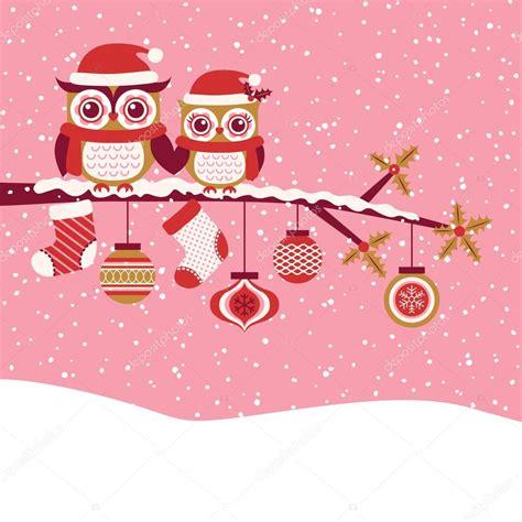 imagenes vectoriales de navidad felicitaci 243 n de navidad de pareja de buhos archivo