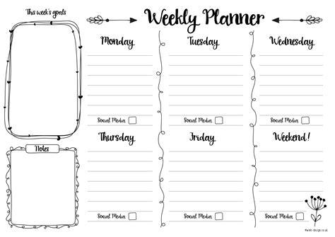 weekly planner printable uk free printable weekly planner daisies pie