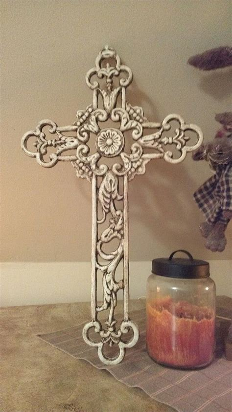 wall cross wrought iron cross home decor shabby chic cross