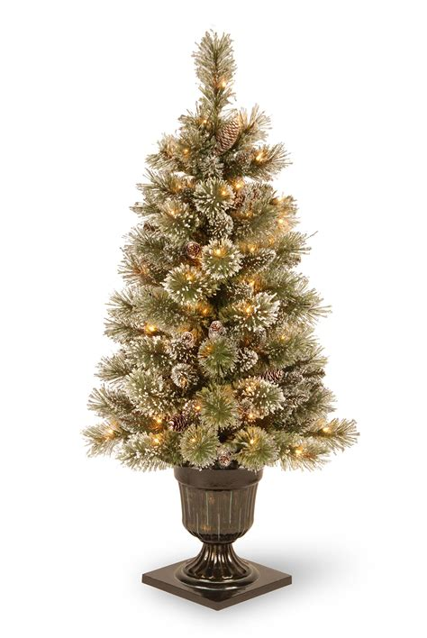 4ft pre lit glittery bristle pine artificial christmas