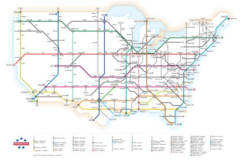 map of us interstates infographic u s interstate highways as a transit map