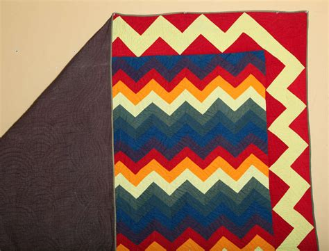 rainbow zig zag quilt pattern quot zig zag rainbow quot pieced quilt for sale at 1stdibs