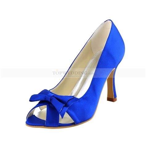 royal blue peep toes high heel bridal shoes with satin bowknot