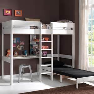 lit mezzanine en pin massif 90x200cm avec bureau