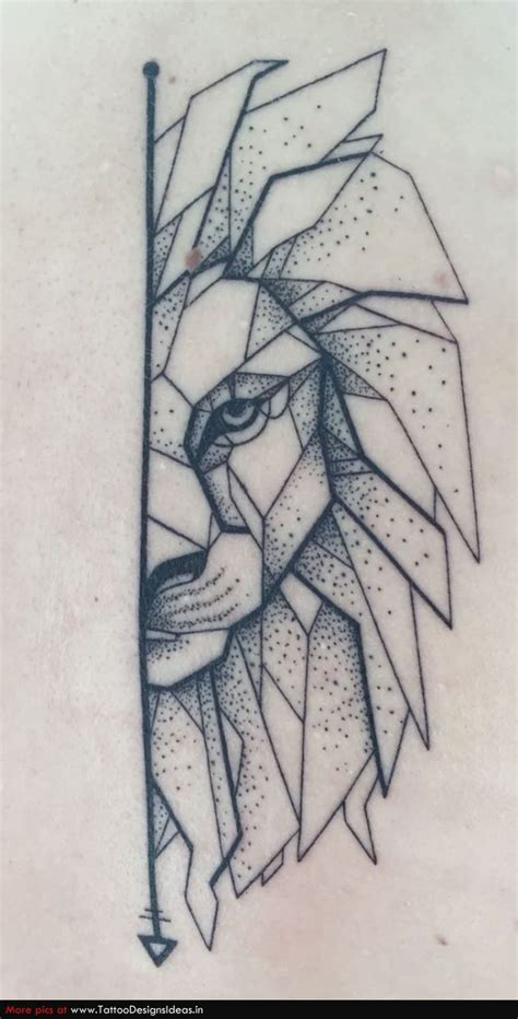 my geometric lion with dotwork tattoos pinterest