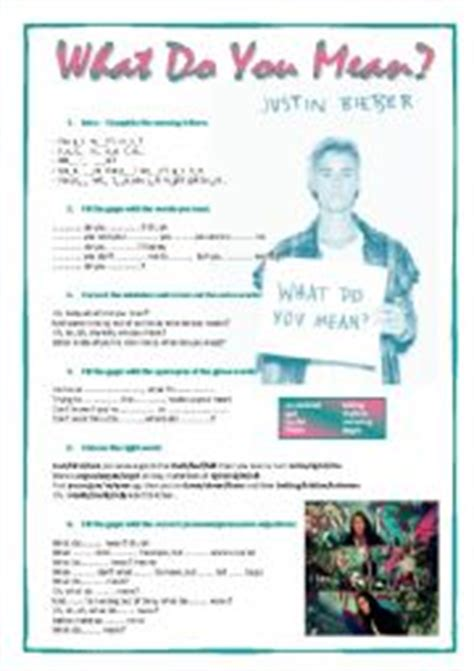 what does sog worksheets song what do you justin bieber