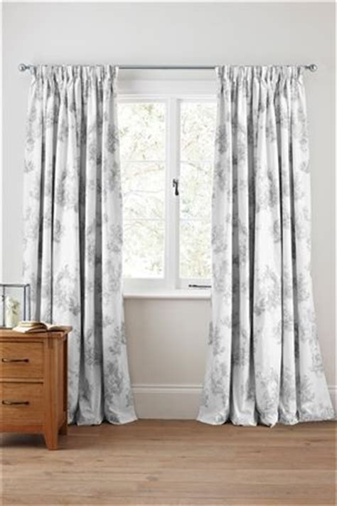 toile print curtains buy grey toile print pencil pleat curtains from the next
