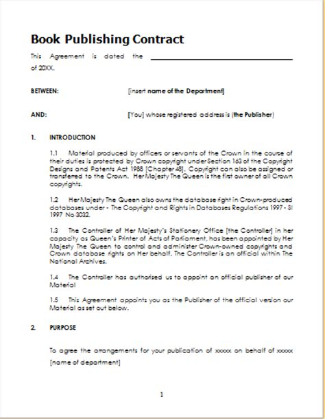 Book Publishing Contract Template For Word Document Hub Publishing Agreement Template