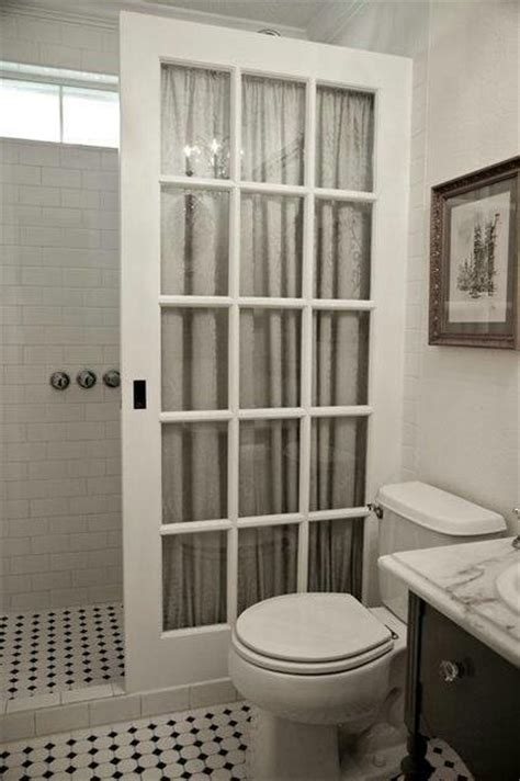 french door  shower curtain bathroom design
