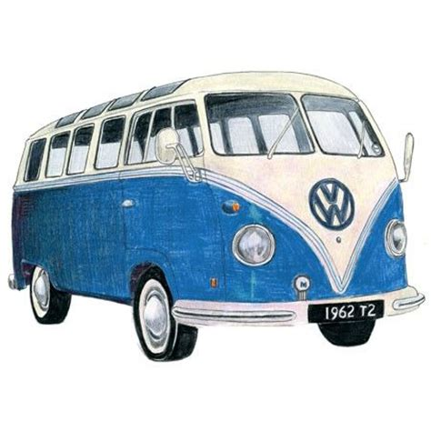 old blue volkswagen blue volkswagen camper drawing caravanning vw cers