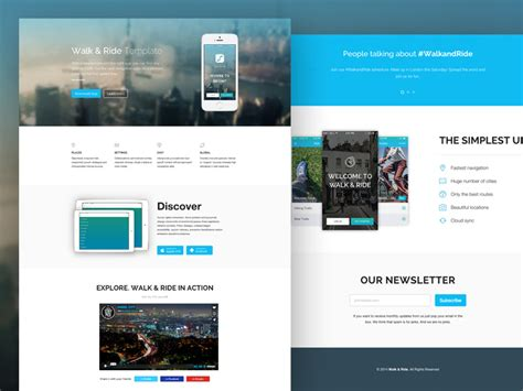 Freebie Quot Walk Ride Quot One Page Website Template Codrops App Introduction Template
