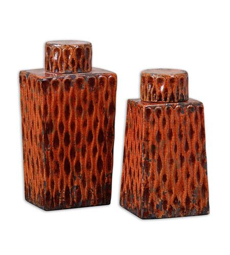 Restock Raisa uttermost raisa containers set of 2 home accessory in distressed crackled burnt orange 19504