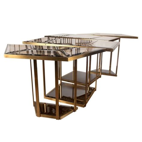 Smoked Glass Dining Table And Chairs Italian Brass And Smoked Glass Dining Table Glasses Dining Room Tables And Dining Room Sets