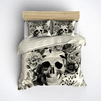 skull bed featherweight skull bedding black from inkandrags on etsy